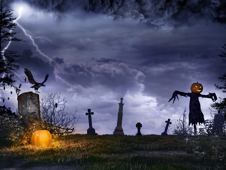 Night scene with glowing pumpkin, tombstones and scarecrow