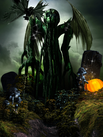 Halloween scene with winged monster, mushrooms and pumpkin