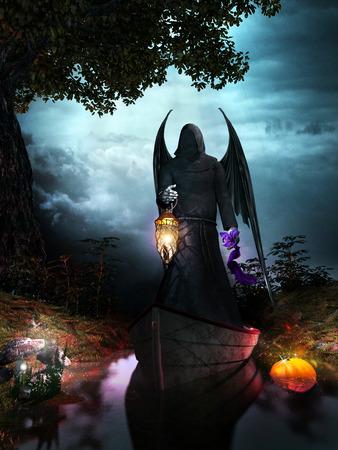 Night scene with angel holding a lantern, magic mushrooms and pumpkin