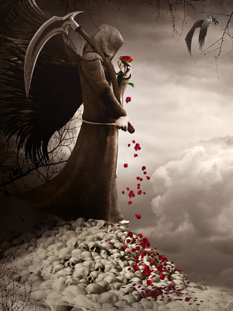 angel roses: Scene with dark angel holding a red rose and scythe Stock Photo