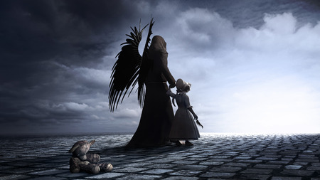 Gothic scene with winged dark angel, little girl and teddy bear