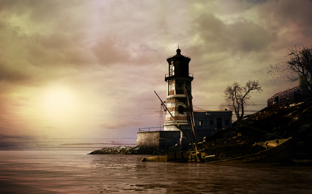 afterglow: Scene with old lighthouse, dark sky and damaged boat