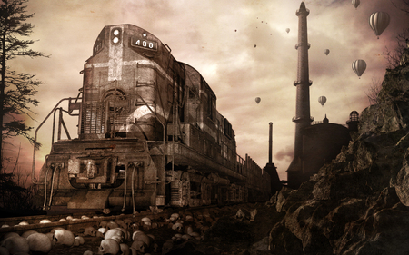 Steampunk scenery with rusty train, old factory and balloons