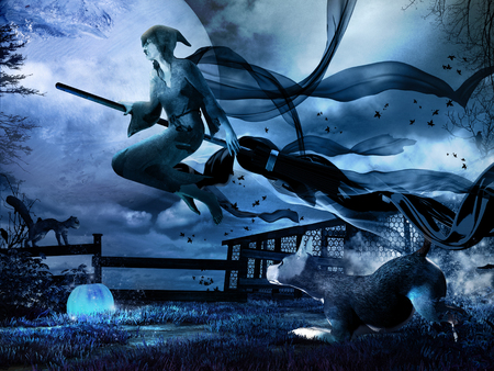 Night scenery with old witch sitting on the broomstick, blue pumpkin and dog