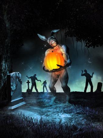 Night scene with creepy rabbit holding a glowing pumpkin Фото со стока