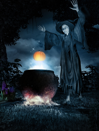 sorcery: Night scenery with witch, couldron and pumpkin