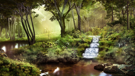 Fantasy scenery with pond, waterfall and  forest