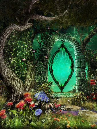 Fairytale scenery with magic portal and colorful flowers Фото со стока