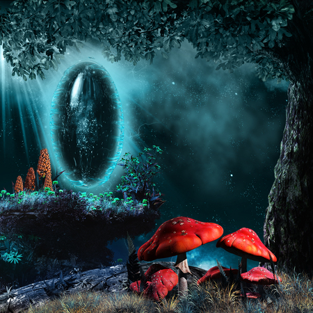 Night scene with magic portal under the tree and fairytale mushrooms