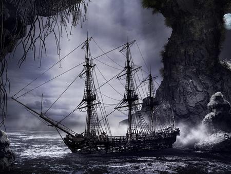 Dark scenery with shipwreck, mist and rocks Фото со стока