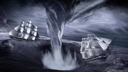 Epic scenery with giant water whirl and two old ships Фото со стока