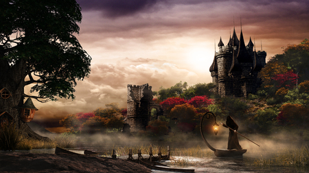 Autumn scenery with castle, lake and mysterious man in a boat