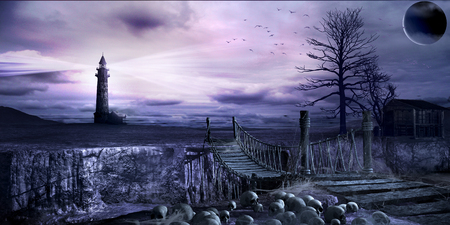 Dark scene with old rope bridge, lighthouse and skulls Фото со стока