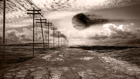 Apocalyptic scenery with devastated road, wasteland and moon