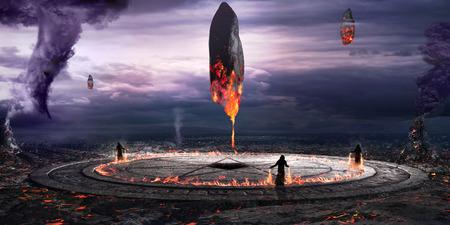 Fantasy scene with magic circle and blazing monoliths