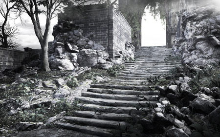 Gloomy scenery with old stone stairs and ruined wall