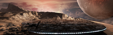 Damaged flying saucer, mountains, desert and huge planet Фото со стока