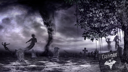 Cemetery with old tombstones, ghosts and tornado