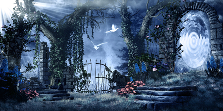 Fantasy scenery with ruins, trees and magic portal