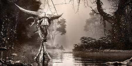 Foggy scenery with river and creepy totem Фото со стока
