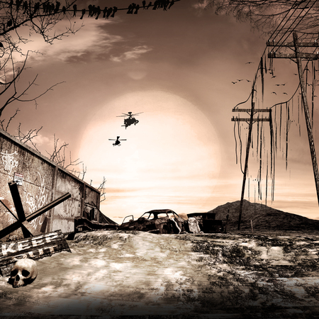 Post apocalyptic scenery with car wreck and copters Фото со стока
