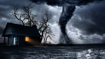 Apocalyptic scenery with old wooden house and tornado