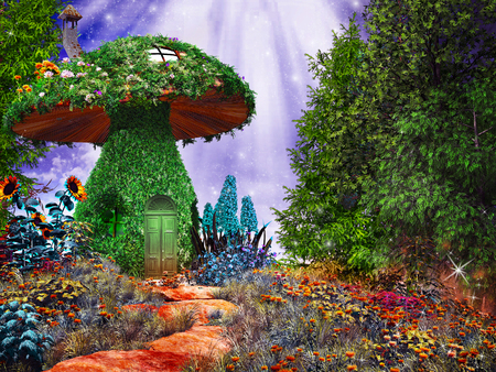 Fairytale scene with mushroom house covered by ivy and colorful flowers Фото со стока