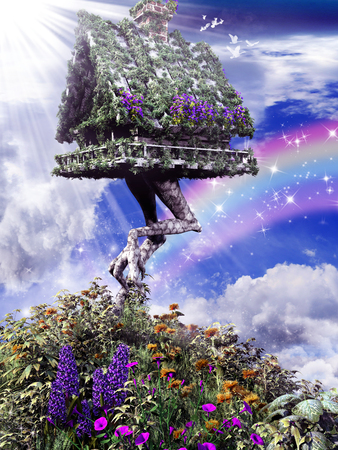 Spring scenery with fantasy hut on chicken legs and colorful flowers Фото со стока