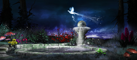 Night scene with wellspring and colorful plants Фото со стока