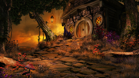 Fairytale scenery with setting sun, small cottage and  trees