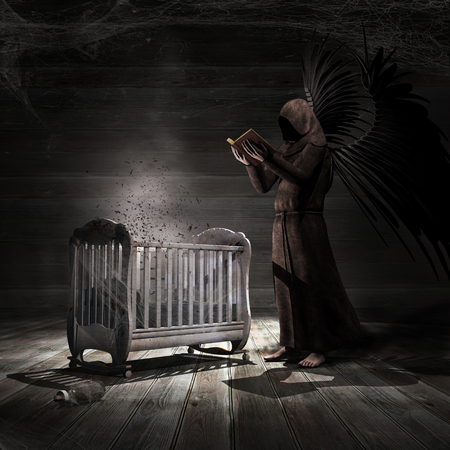 Dark scene with old cradle and scary angel