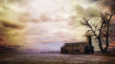 Twilight over creepy tree and devastated house