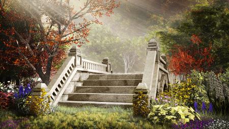 Autumn scenery with stone bridge and colorful flowers Фото со стока