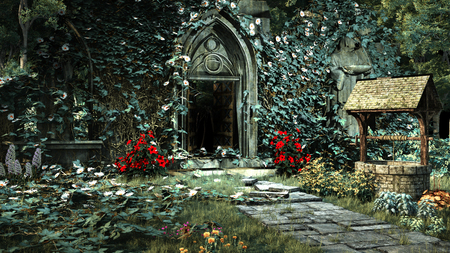 Entry to old gothic church with ruined pavement and well