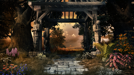 Autumn garden with wooden pergola, trees and flowers