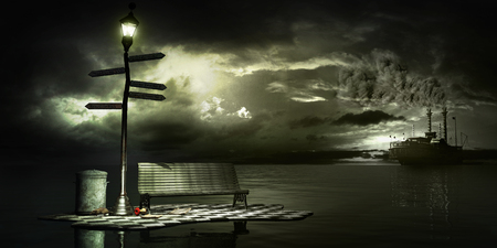 Surrealistic scene with lonely lantern, bench and steamship
