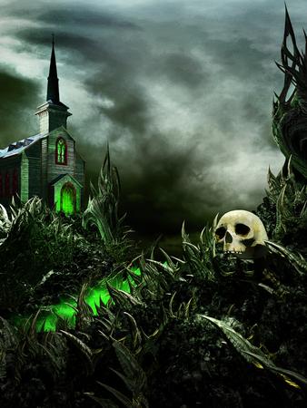 Dark fantasy scene with skull,spikes and scary church