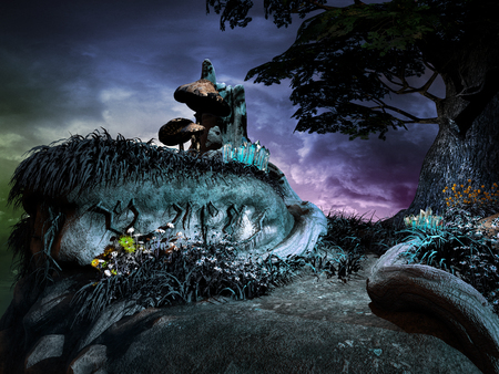 Night scene with huge tree, mushrooms and flowers