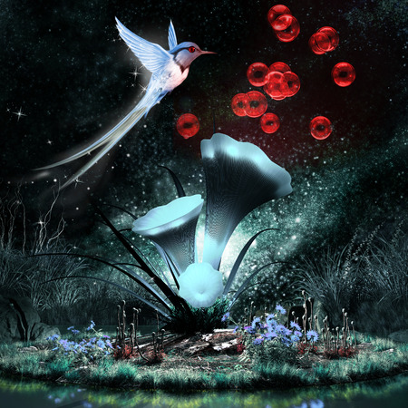 Colorful night scenery with fantasy plant, hummingbird and red bubbles Фото со стока