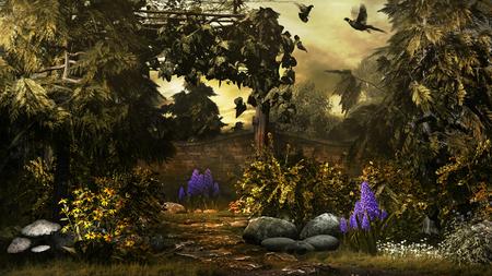 Autumn scene with two birds in the garden