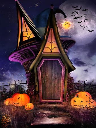 Halloween scene with fantasy hut, pumpkins and moon Фото со стока