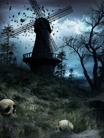 Gothic scenery with huge windmill, birds and skulls