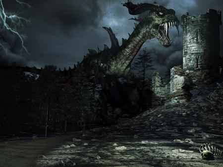 森、ドラゴン、台無しにされたタワーの夜の風景