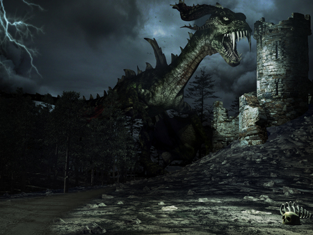 Night scenery with forest, dragon and ruined tower