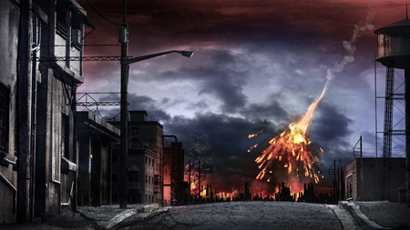 Apocalyptic scenery with exploding meteor and blazing city