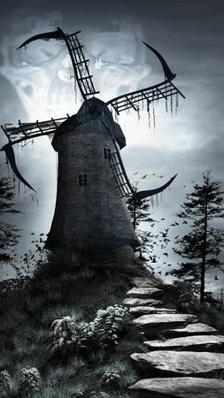 Horror scenery with creepy windmill, birds and trees Фото со стока