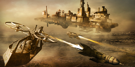Steam punk scenery with flying machine, factory and rockets Stock Photo