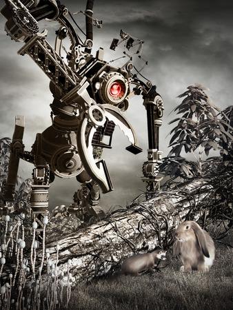 Robot catching a bunny and ferret Фото со стока