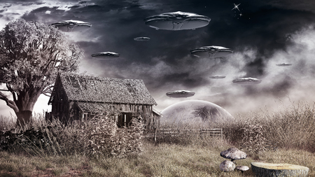Scene with dry grass, ruined barn and flying saucers