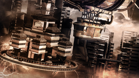 Steam punk scene with city and rusty flying machine